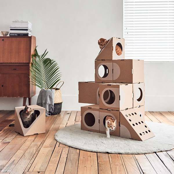 Cardboard Cat Play Boxes