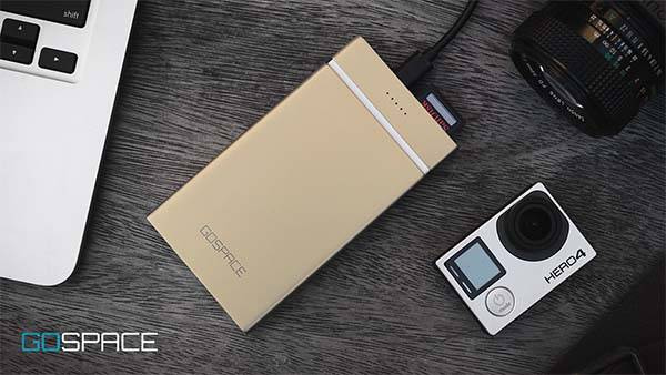 Gospace Portable Cloud Storage Device with Qi Power Bank
