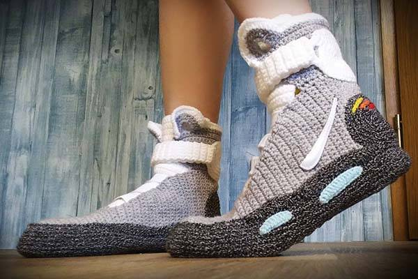 Handmade Back to the Future Knitted Slippers