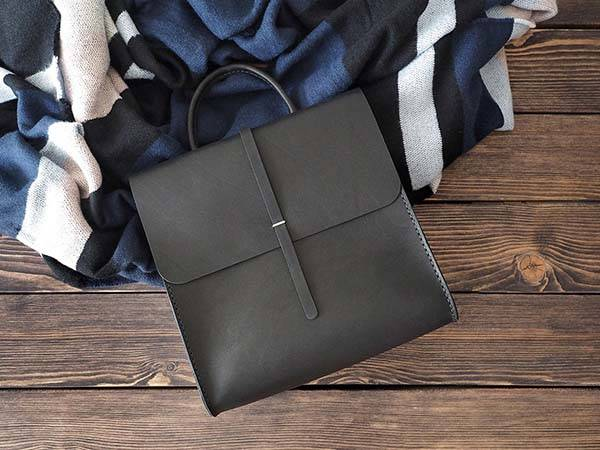 Handmade Customizable Minimalistic Leather Backpack for Women