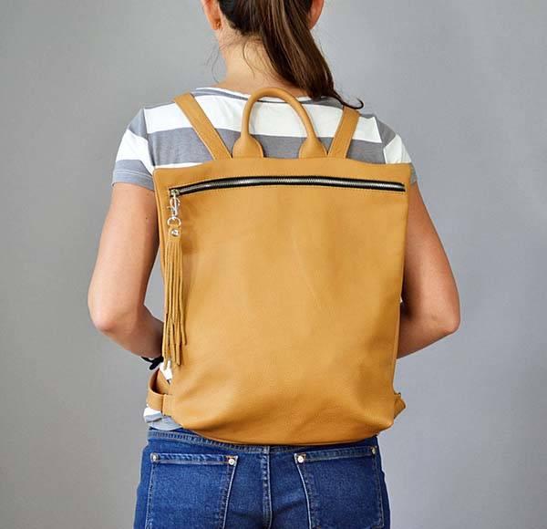 Handmade Laptop Ladies Leather Backpack