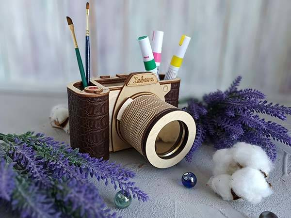 Handmade Camera Shaped Wooden Desk Organizer