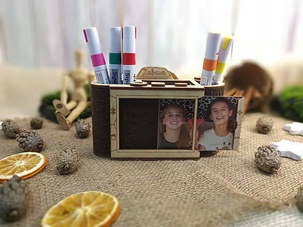 Handmade Camera Shaped Wooden Desk Organizer