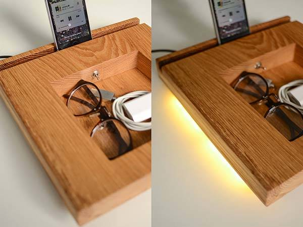 Handmade Wooden Docking Station with LED Lamp