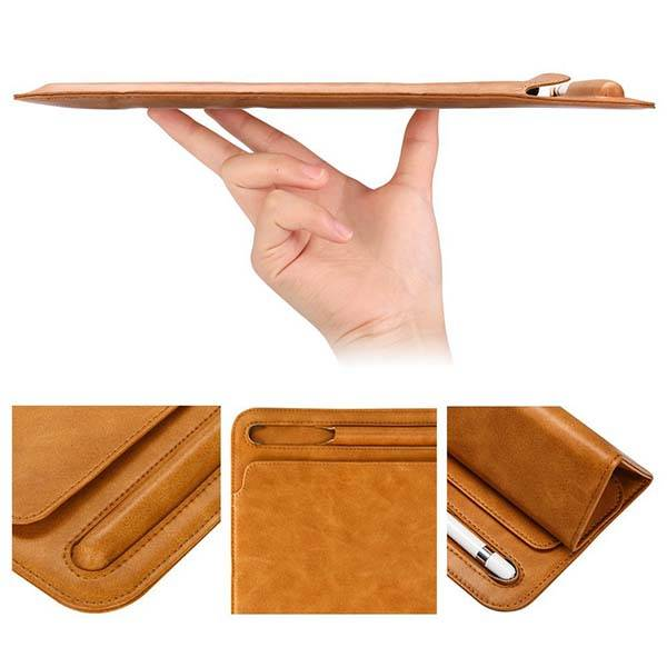 Leather iPad Pro 10.5 sleeve with Apple Pencil Pocket and Stand