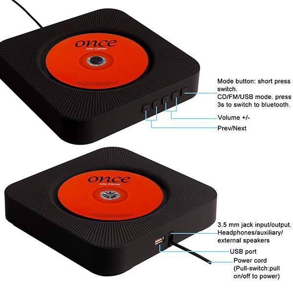 The Wall Mountable CD Player with Bluetooth Speaker and MP3 Player