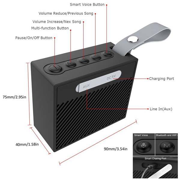 X95 Splashproof Portable Smart Speaker with Amazon Alexa