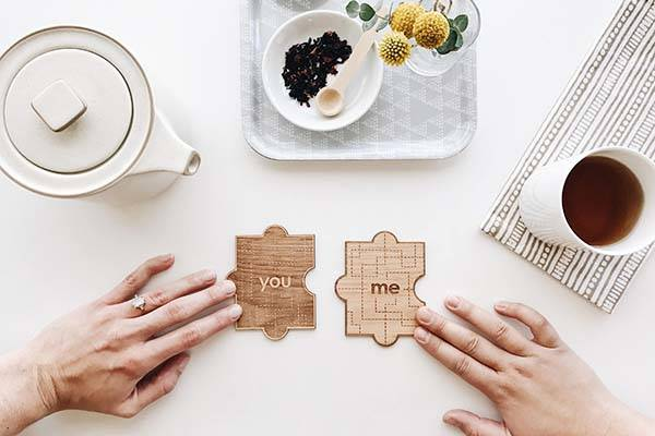 You and Me Wood Puzzle Personalized Valentines Card