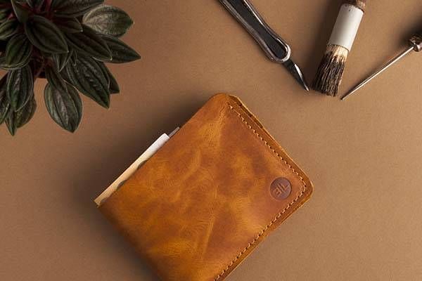 Handmade Brown Leather Bifold Wallet