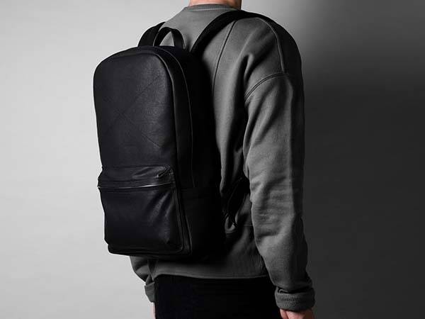 Hard Graft Neat Canvas Backpack with Leather Detailing