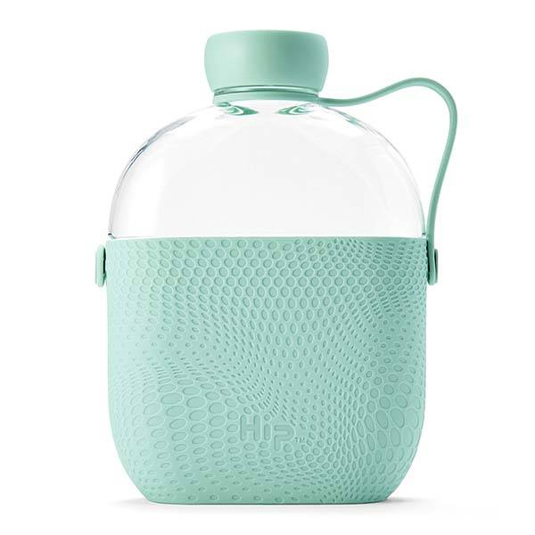 Hip Tritan Water Bottle with Textured Silicone Sleeve and Side Strap