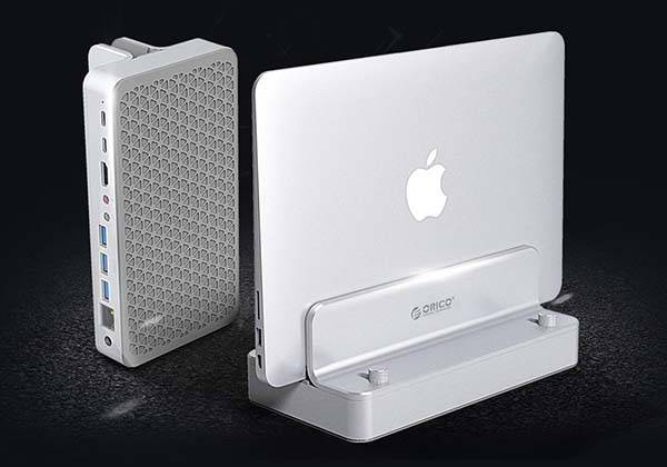 Orico Aluminum USB-C Docking Station with Vertical Laptop Stand