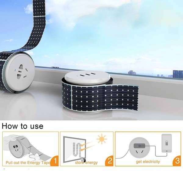 The Portable Power Strip Powered by Integrated Solar Panel