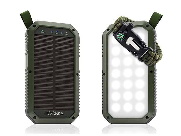 Portable Solar Power Bank with 21 LED Light