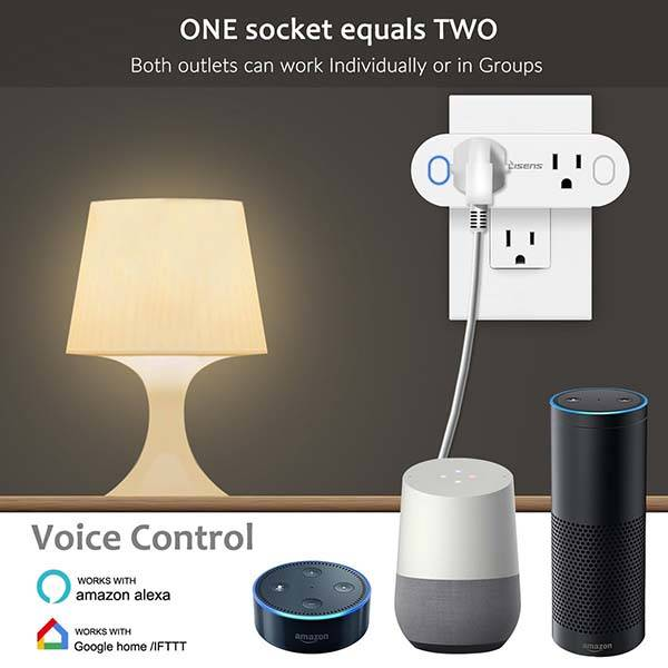 Smart WiFi Plug with Two Outlets Supports Amazon Alexa, Google Assistant and IFTTT