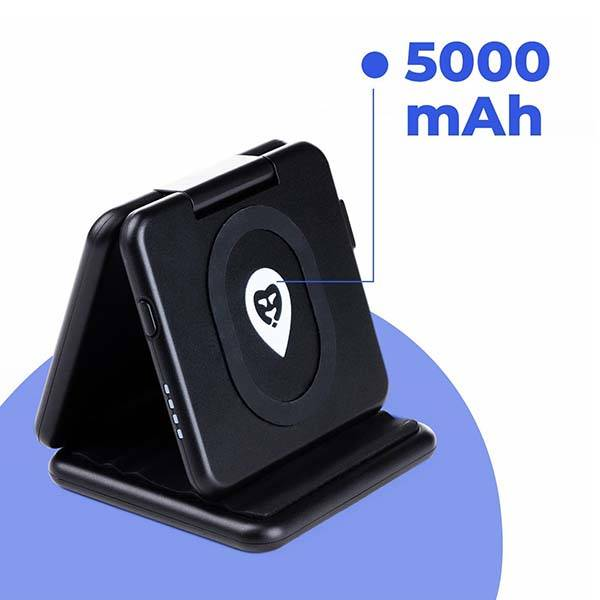 Wallor 3-In-1 Wireless Charger with Power Bank and USB Port