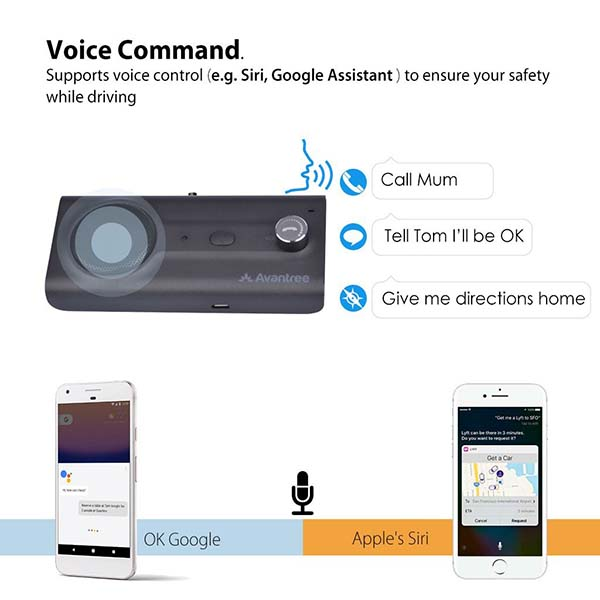 Avantree Bluetooth Visor Car Kit Supports Google Assistant and Siri