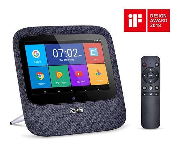 Clazio Touchscreen Smart Wireless Speaker with Amazon Alexa and Google Assistant