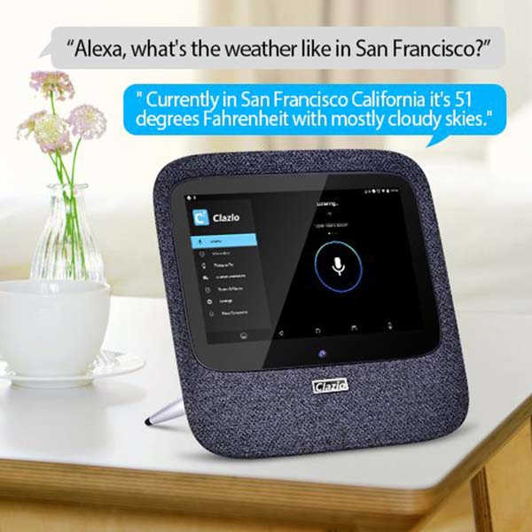 Clazio Touchscreen Smart Wireless Speaker with Amazon Alexa and Google Assistant