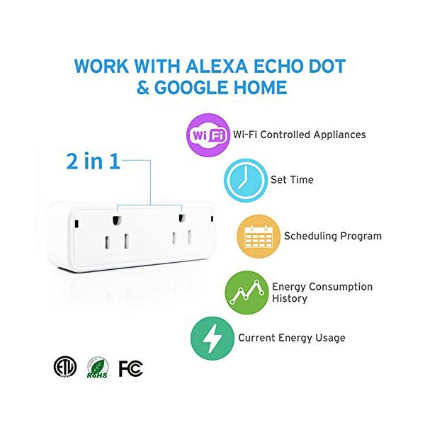 Compact WiFi Smart Plug with Dual Outlets Supports Amazon Alexa, Google Home and IFTTT