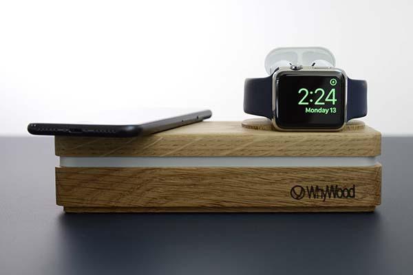 Dockit W3 Handmade Customizable Wireless Charging Dock with Apple Watch Stand