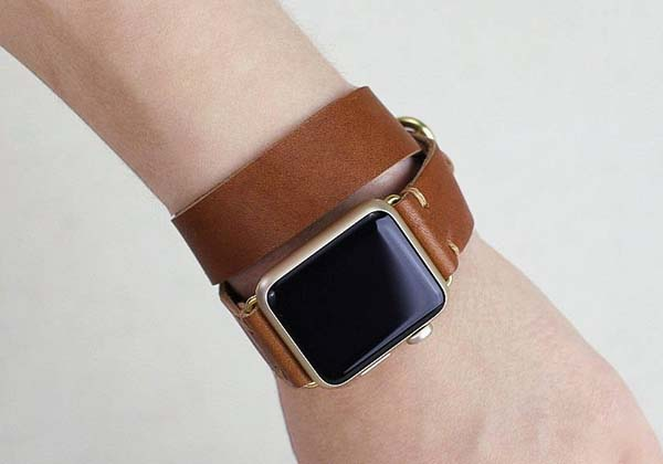 Handmade Double Wrap Apple Watch Leather Strap