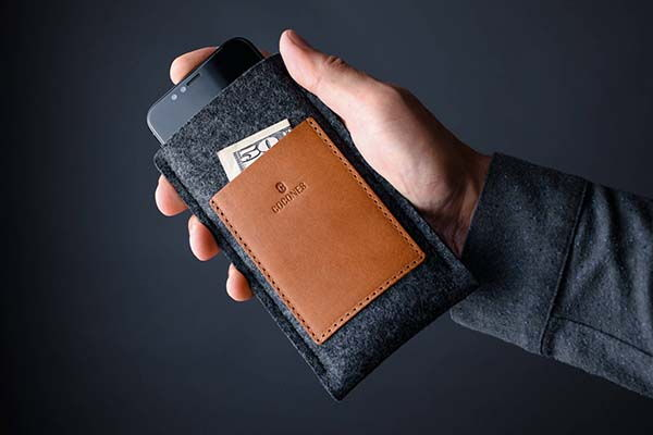 Handmade iPhone X Sleeve with Two Pockets
