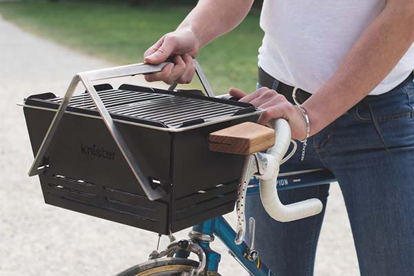 Knister Extendable Charcoal BBQ Grill Fits on Your Bicycle