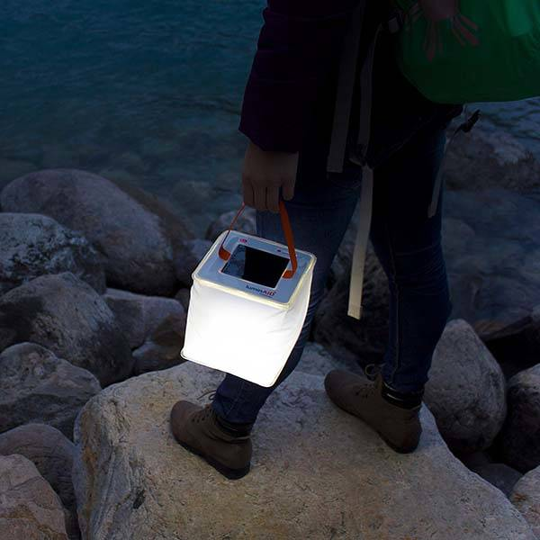 LuminAID PackLite 2-In-1 Solar Inflatable LED Lantern with Phone Charger