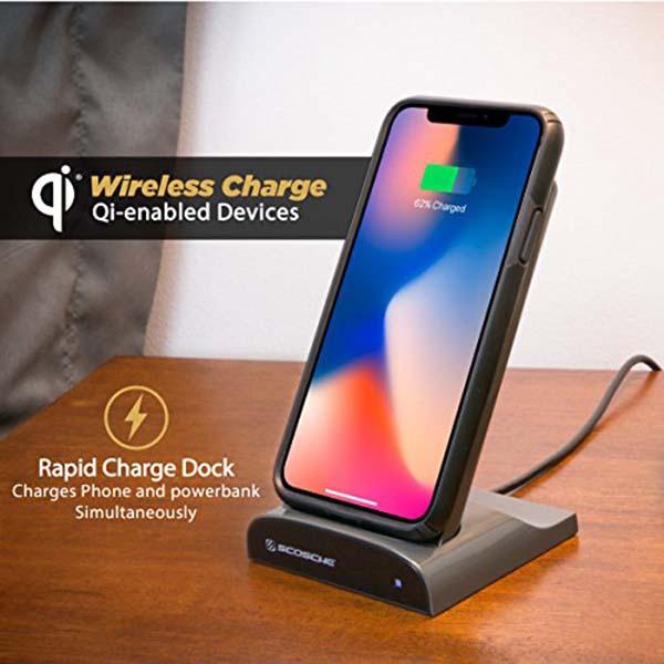 Scosche QiDock Wireless Charging Dock with Qi Wireless Power Bank