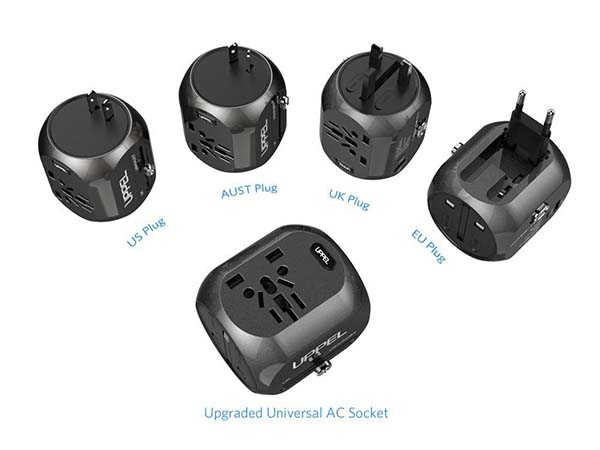 UPPEL Universal Travel Adapter with USB and USB-C Ports