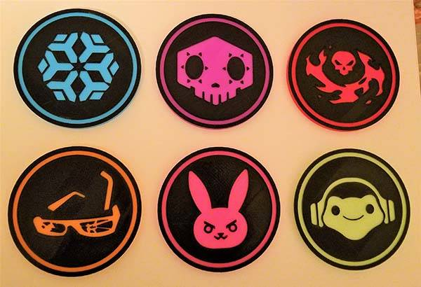 3D Printed Overwatch Ultimate Ability Drink Coasters