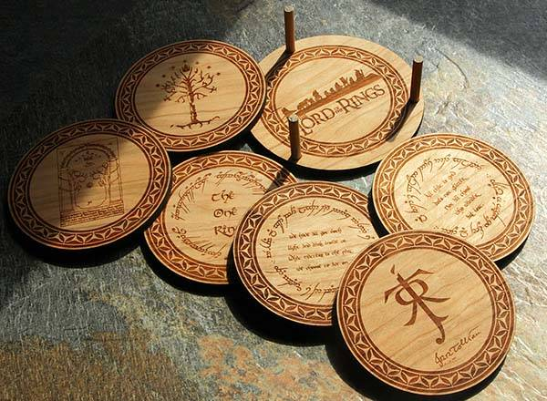 Handmade Lord of the Rings Drink Coaster Set