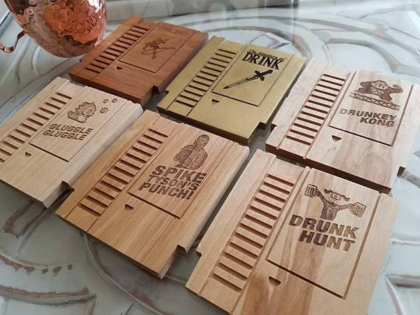 Handmade Wooden NES Cartridge Drink Coaster Set
