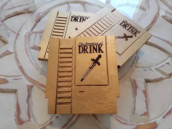 Handmade Wooden NES Cartridge Drink Coaster Set