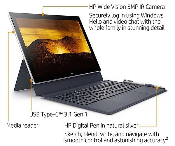 HP Envy x2 12-Inch Detachable Touchscreen Laptop with Stylus Pen
