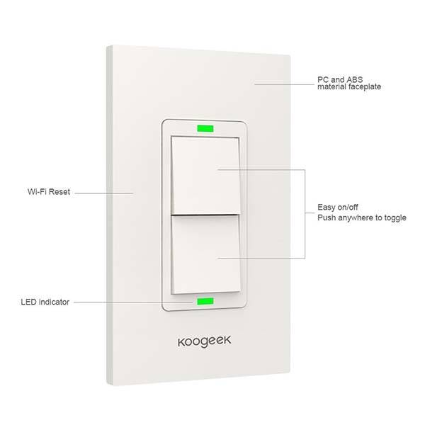 Koogeek Two-Gang WiFi Smart Light Switch for Apple HomeKit