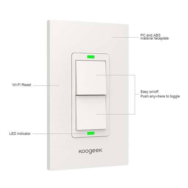 Koogeek Two Gang Wifi Smart Light Switch For Apple Homekit