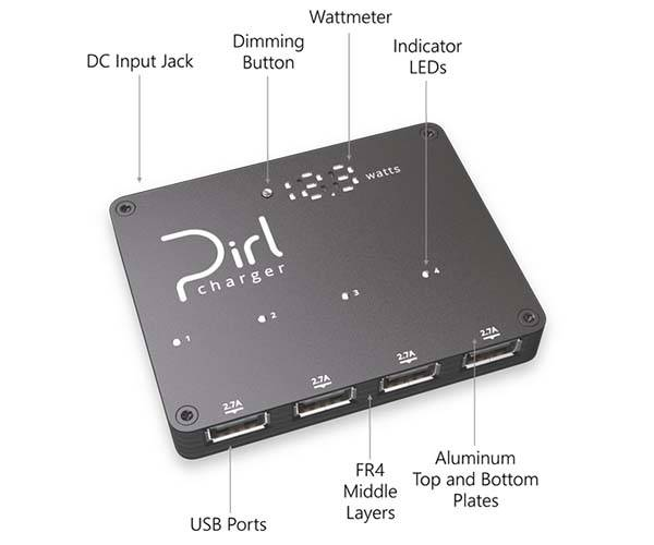 Pirl Powerful 4 Port Portable USB Charger