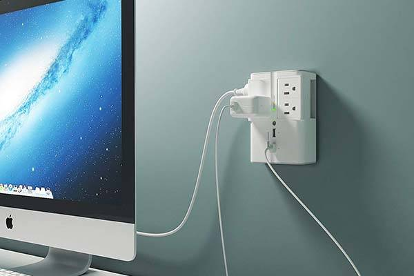 Wall Mount Surge Protector with 4 Rotatable Outlets and Two USB Ports