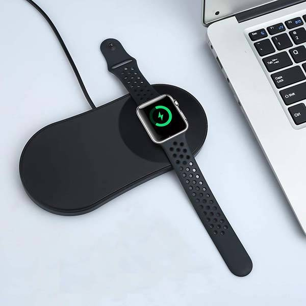 The 2-In-1 Wireless Charging Pad with Integrated Apple Watch Charger