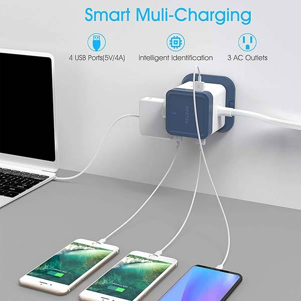 Bestek Compact Power Strip with Mountable Base