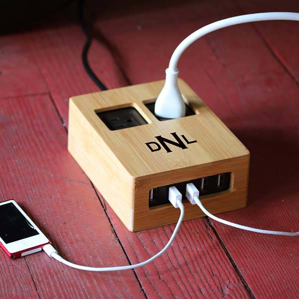Handmade customizable Bamboo Covered Power Strip