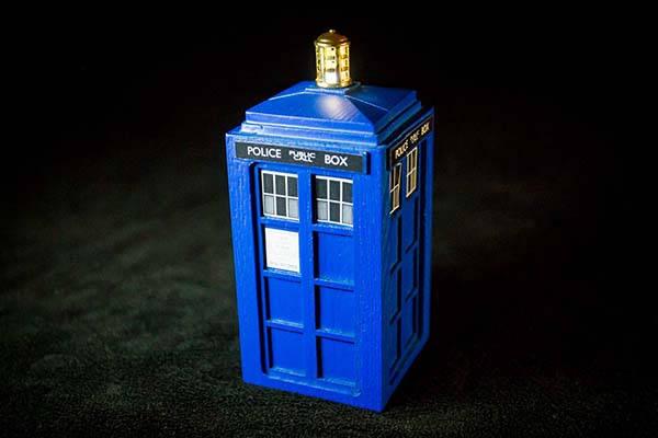 Handmade Doctor Who Tardis Ring Box with Customizable Message