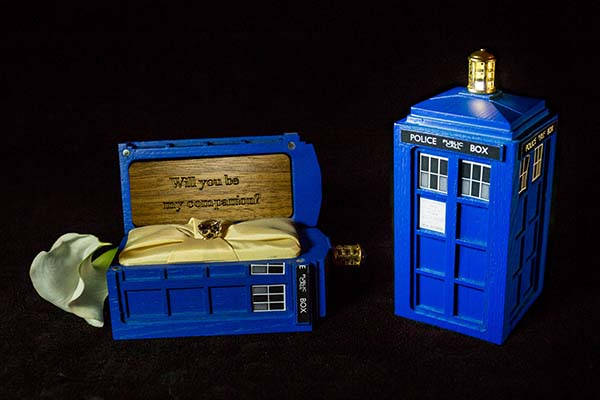 Handmade Doctor Who Tardis Ring Box with Customizable Message