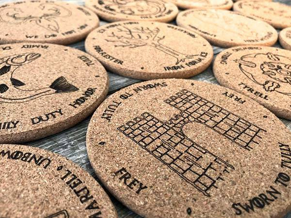 Handmade Game of Thrones Cork Drink Coaster Set