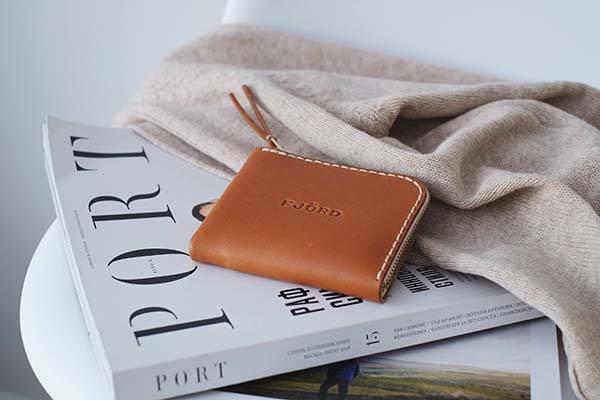 Handmade Half Zip Minimal Leather Wallet