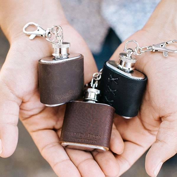 Handmade Mini Leather Keychain Flask