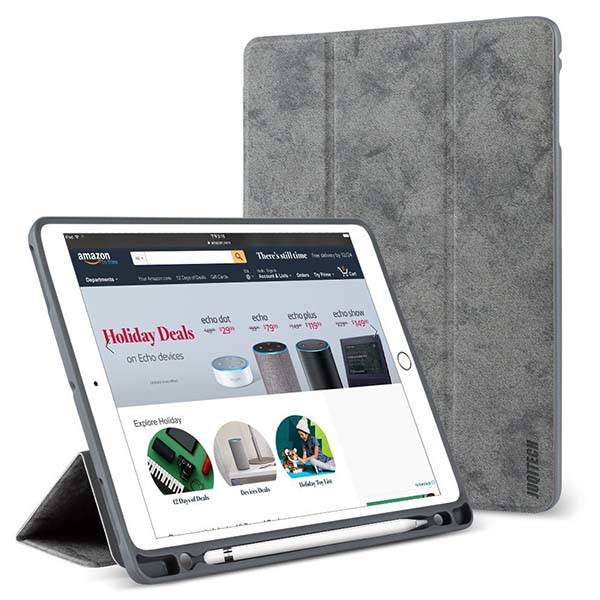 New iPad 9.7-Inch Case with Apple Pencil Holder and Triple Stand