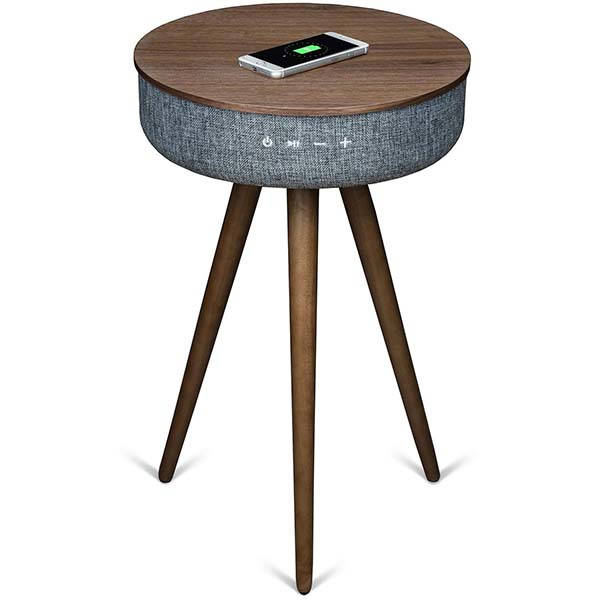 Sierra Modern Accent Table with Bluetooth Speaker and Wireless Charger